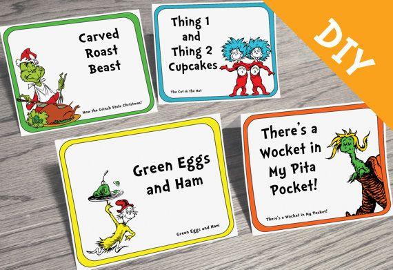 Dr. Seuss Food Label DIY Set - Customizable - Dr Seuss Party, Dr Seuss Baby Shower, Dr Seuss Birthday. Dr Seuss Printable, Dr Seuss Menu