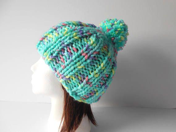 Pom Pom Hat Beanie  hand knit women's hat St.