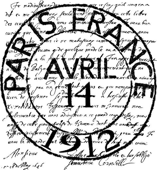 French Writing Postmark // not the writing background, and Feb 14, 2011