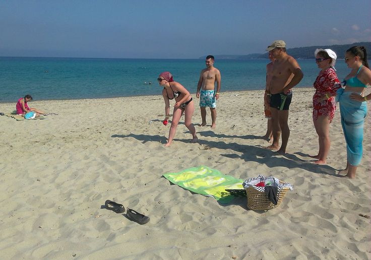Playing #Pétanque with our visitors #Halkidiki #Fourka Hotel Akropolis