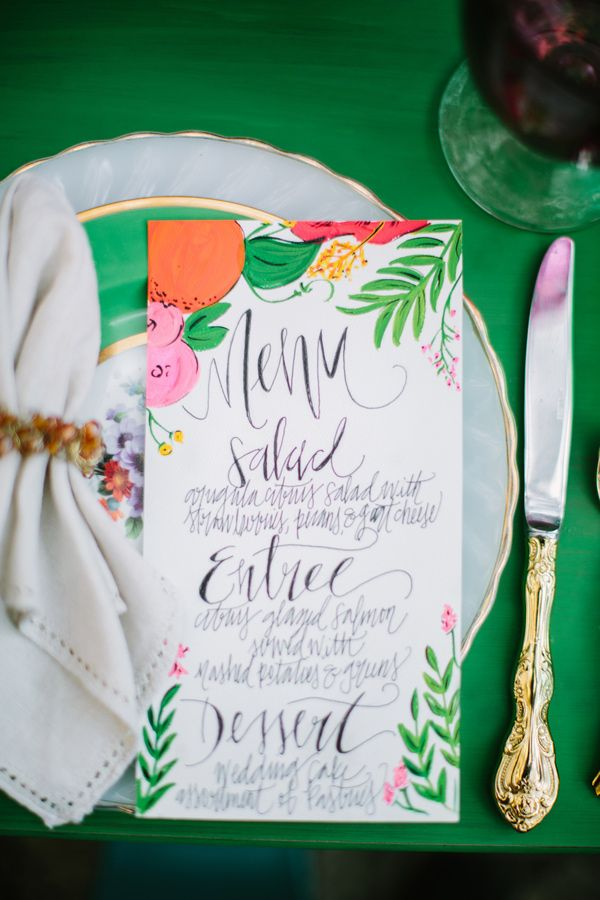 illustrated menu + place setting // #entertaining #tabletop: Tropical Wedding, Beautiful Paper, Menu Cards, Stationery Inspiration, Handwritten Menu, Dinners Parties, Places Sets, Kirsten Illustrations, Wedding Menu