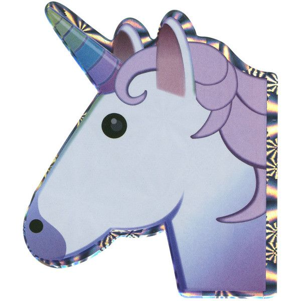 Unicorn Emoji Hologram Sticker ($3.99) ❤ liked on Polyvore featuring home, home decor, office accessories, multi and emoji stickers