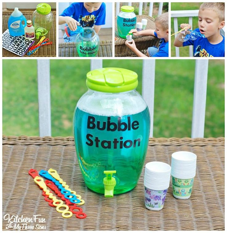 DIY BUBBLE REFILL STATION...and Homemade Bubble Recipe! This is such a fun idea for the kids to make themselves & makes the BEST bubbles! Also a fantastic party idea!!
