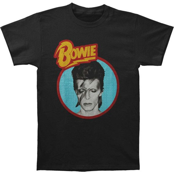 DAVID BOWIE Aladdin Blue T-shirt (337.690 IDR) ❤ liked on Polyvore featuring tops, t-shirts, blue t shirt, blue tee, logo t shirts, david bowie tee and logo tee