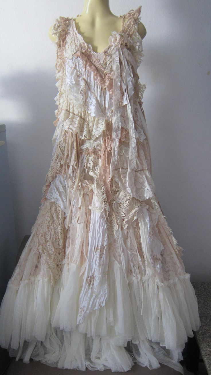"RESERVED..she has stories to tell...vintage inspired shabby bohemian gypsy dress ...36"" to 44"" bust. $175.00, via Etsy."
