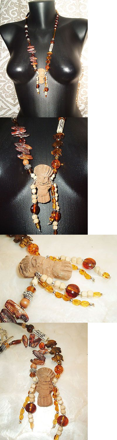 Necklaces and Pendants 98481: Ethnic Clay Tribal Man Necklace, Tigers Eye Buffalo, Stick Pearls, Amber Resin -> BUY IT NOW ONLY: $38 on eBay!