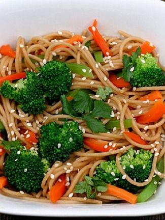 Whole Wheat Noodles with Peanut Sauce and Vegetables Recipe on twopeasandtheirpod.com. Love this simple and healthy noodle dish!