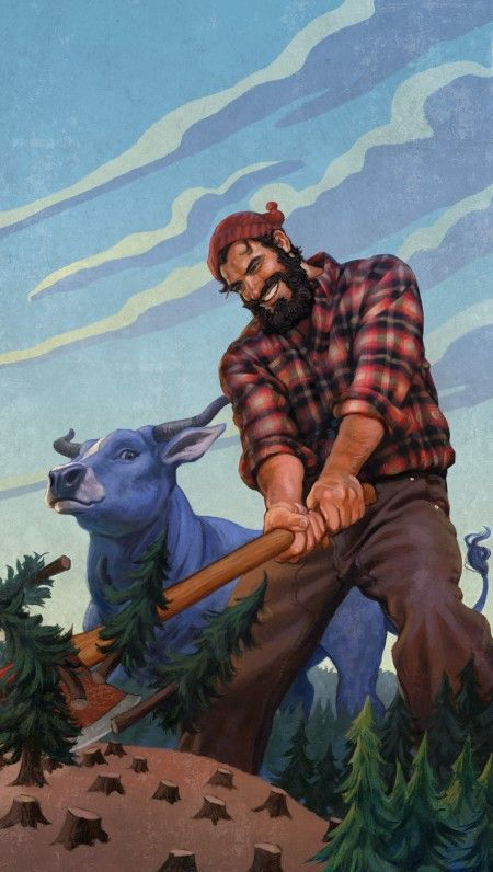 Paul Bunyan and Babe Illustration by JAMES BERNARDIN