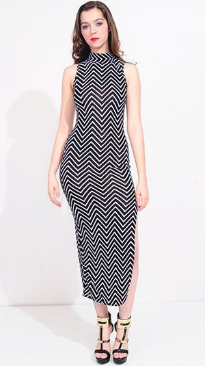 #bodeoo stripped midi maxi dress with slit. Several trends in one