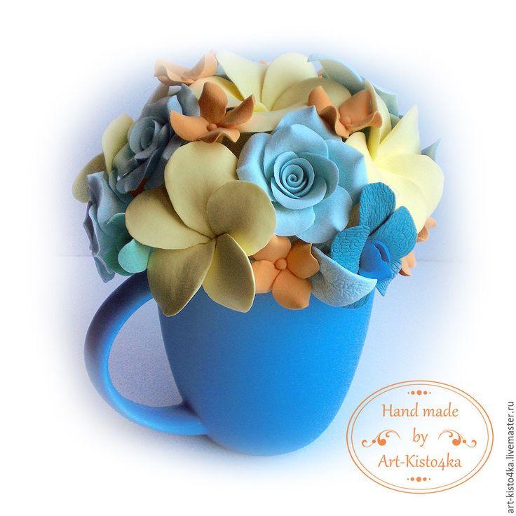 """Купить Букет в чашке """"Плюмерии и розы"""" - разноцветный, букет из полимерной глины, цветы ручной работы"""