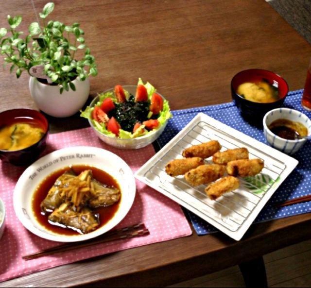 ミネラル&食物繊維たっぷりの海藻をイッパイ食べて、キレイになろうっと!  ☆〜(ゝ。∂) - 16件のもぐもぐ - 茄子のロール揚げ、赤カレイの煮付け、海藻サラダ、じゃがいものお味噌汁、雑穀米 by pentarou