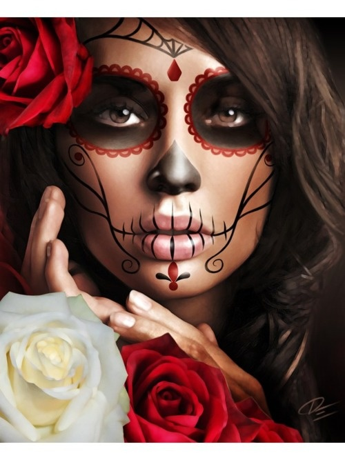 mexican culture | mexican skull # death # woman # tattoo