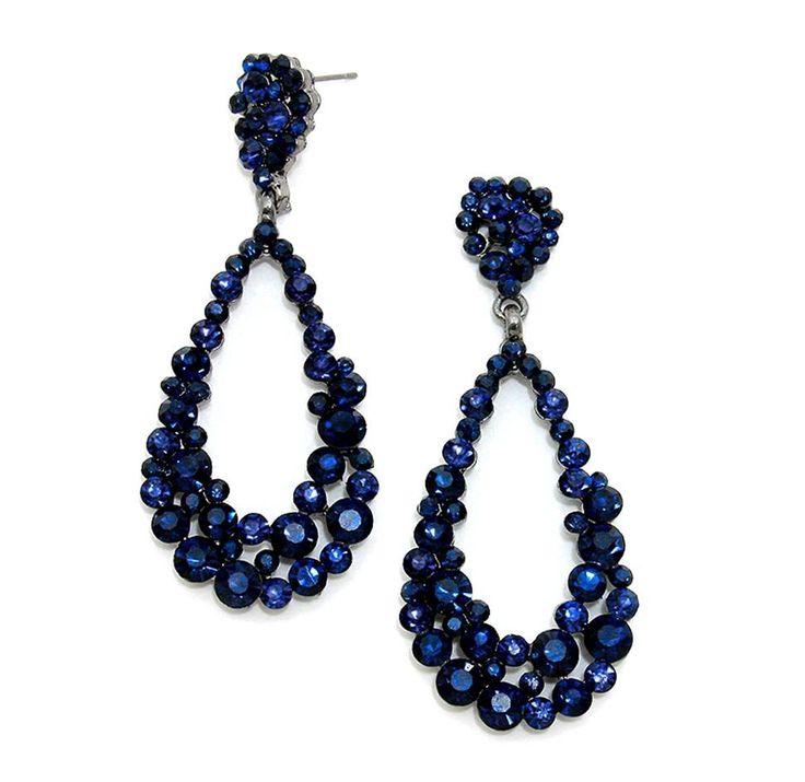 Sapphire Navy Blue Long Earrings