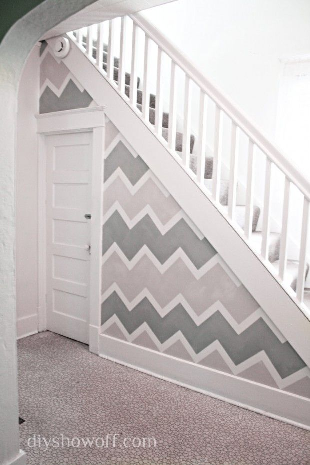 Chevron Accent Wall - 20 Cheap and Affordable DIY Home Decor Ideas.  Too much for my hallway...?