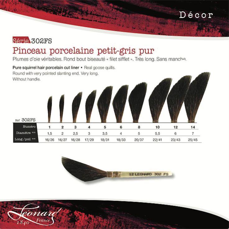 """FR- Découvrez une série originale les 302FS, les pinceaux pour porcelaine petit-gris pur, montés sur plumes d'oies. Ronds et bous biseautés """"filet sifflet"""" très longs, sans manche. EN- Discover the 302FS pur squirrel hair porcelain cut liner with real goose quills. Round with very pointed slanting end. very long. Without handle.  #art #decor #porcelain #porcelaine #brushes #pinceaux #pinceau #pinceauxleonard #leonardbrushes #paint #painting #handmade #madeinfrance"""