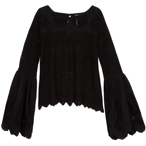 Free People Once Upon A Time Black Crochet Top - Size S (6.340 UYU) ❤ liked on Polyvore featuring tops, scallop edge top, embroidered top, yoke top, scallop hem top and scallop trim top