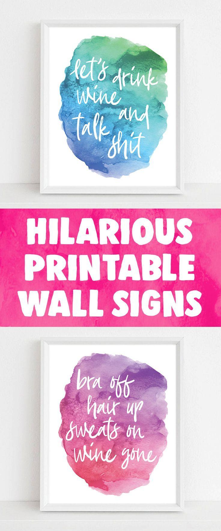 Printable Wall Art Wall Quotes Diy Funny Printable Signs