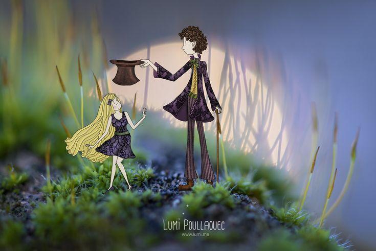 Alice et le Chapelier fou dans le sous bois dormant Lumi Poullaouec - www.lumi.me #macro #photographie #imaginaire #illustration #Alice #chapelier #enchanté #conte