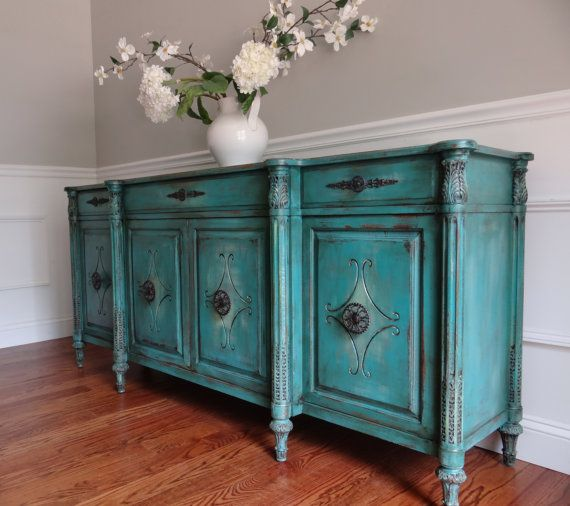 EIA MAGAZINE Exclusive - Hand Painted French Country Cottage Chic Romantic Vintage Turquoise Sideboard Cabinet Buffet