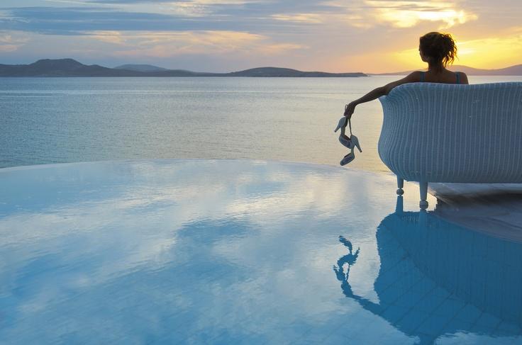 Spectacular Sunset before wedding ceremony - Mykonos Grand Hotel & Resort