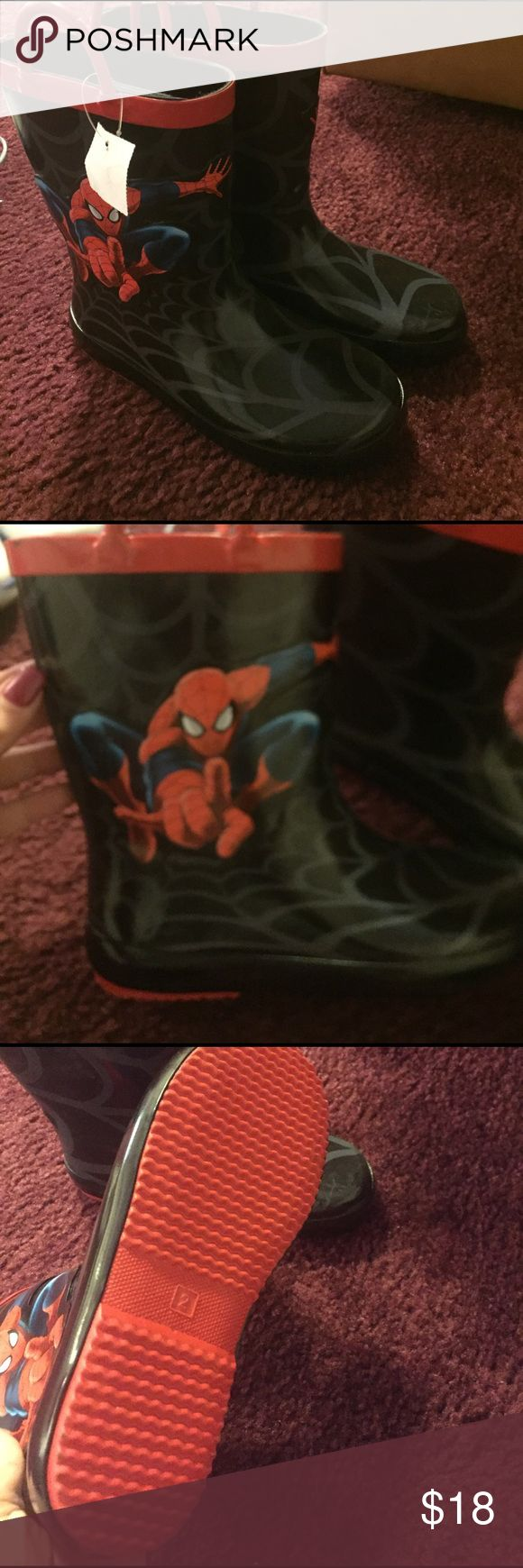 Brand new never worn boys rain boots Brand new never worn Spider-Man boys rain boots still with tag on. Shoes Rain & Snow Boots