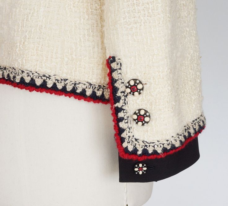 CHANEL jacket Important winter white boucle red and blue trim fits 8 MINT | From a collection of rare vintage jackets at https://www.1stdibs.com/fashion/clothing/jackets/