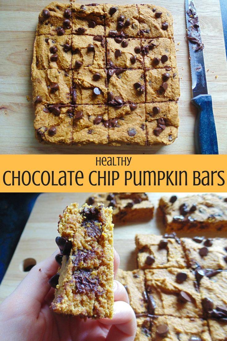 Healthy Chocolate Chip Pumpkin Bars!