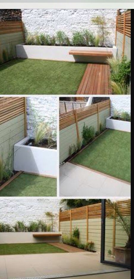 Garden timber green colour scheme fake lawn