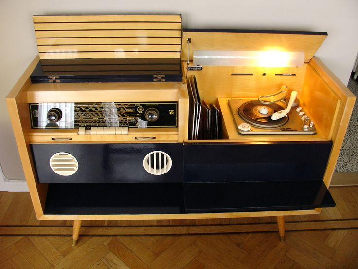 Mid Century Modern Zenith Stereo Record Player Console