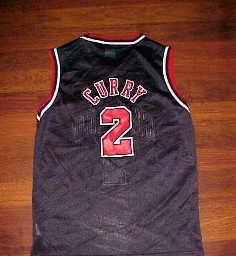 Eddy Curry 2 Chicago Bulls NBA Champion Boys Black Red Basketball Jersey M 10-12 #Champion #ChicagoBulls