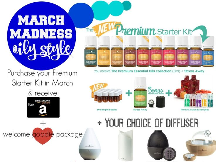 March Madness 2016 - Join Young Living Essential Oils and receive gift card and welcome package when you purchase your premium starter kit.