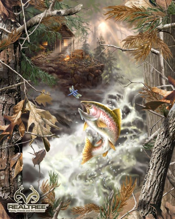 Realtree Bass Fish Fleece Fabric Panel | Cakes - Prints ...