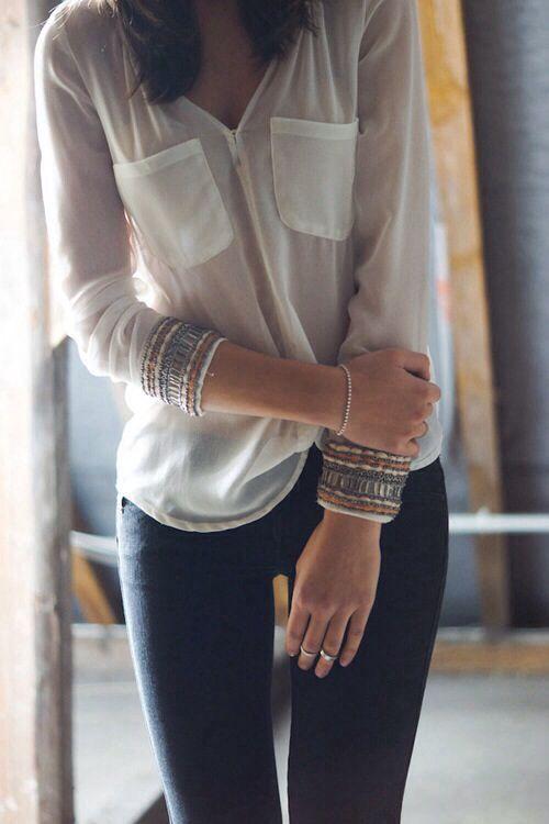 black skinnies : sheer blouse