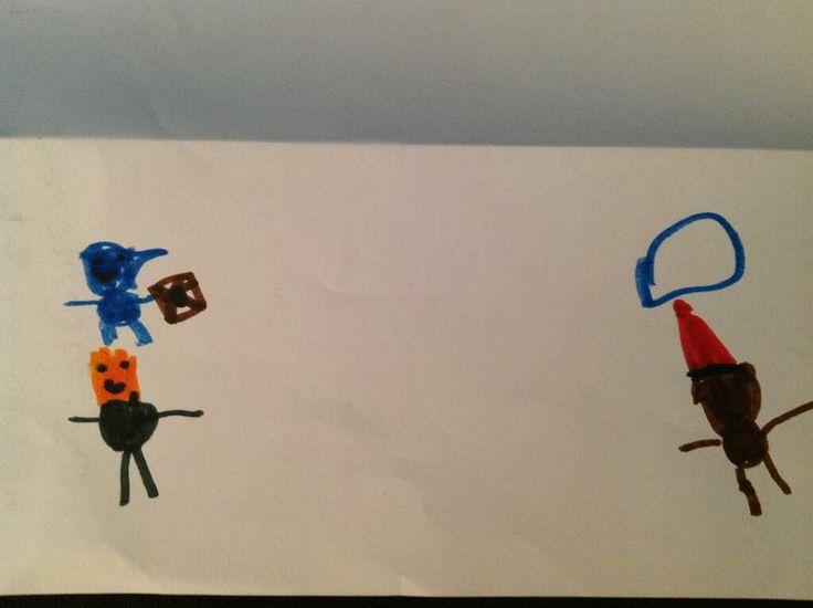 Shadow Era fan art by 5 year old Logan. Special Delivery, Zaladar, and Bad Santa