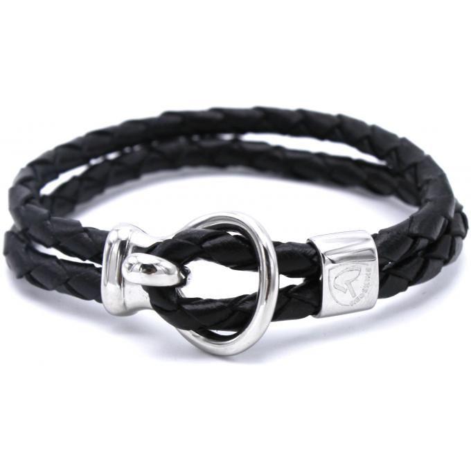 Bracelet Redskins 285105 - Bracelet Cuir Tressé Noir Homme