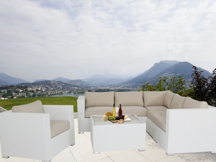 White Endora Corner Outdoor Wicker Furniture Lounge