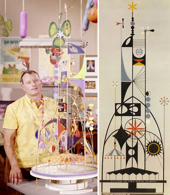"Roland ""Rolly"" Crump with model and sketch for his Tower of the Four Winds for the Pepsi-Cola Pavilion, ""It's a Small World"" at the 1964-65 New York World's Fair."