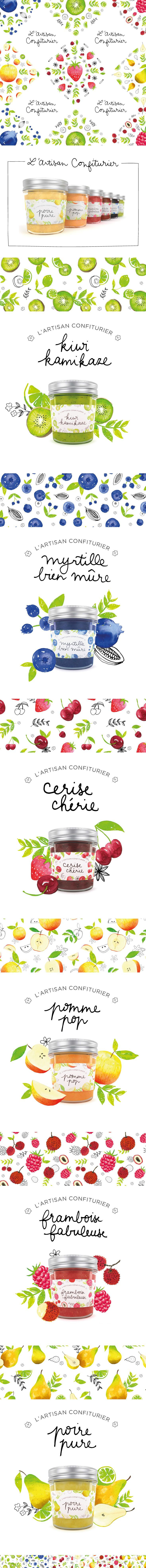 i like the way they presented it  L'Artisan Confiturier -  Illustrated Jam Packaging on Behance