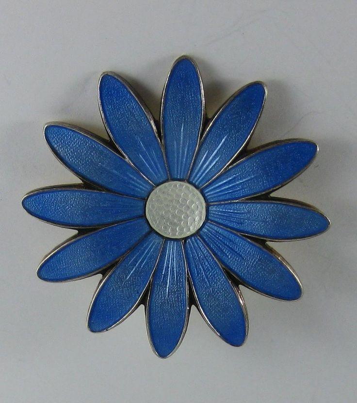Vintage  Aksel Holmsen  Large Blue Flower Sterling Guilloche Enamel Brooch Pin  #AkselHolmsen