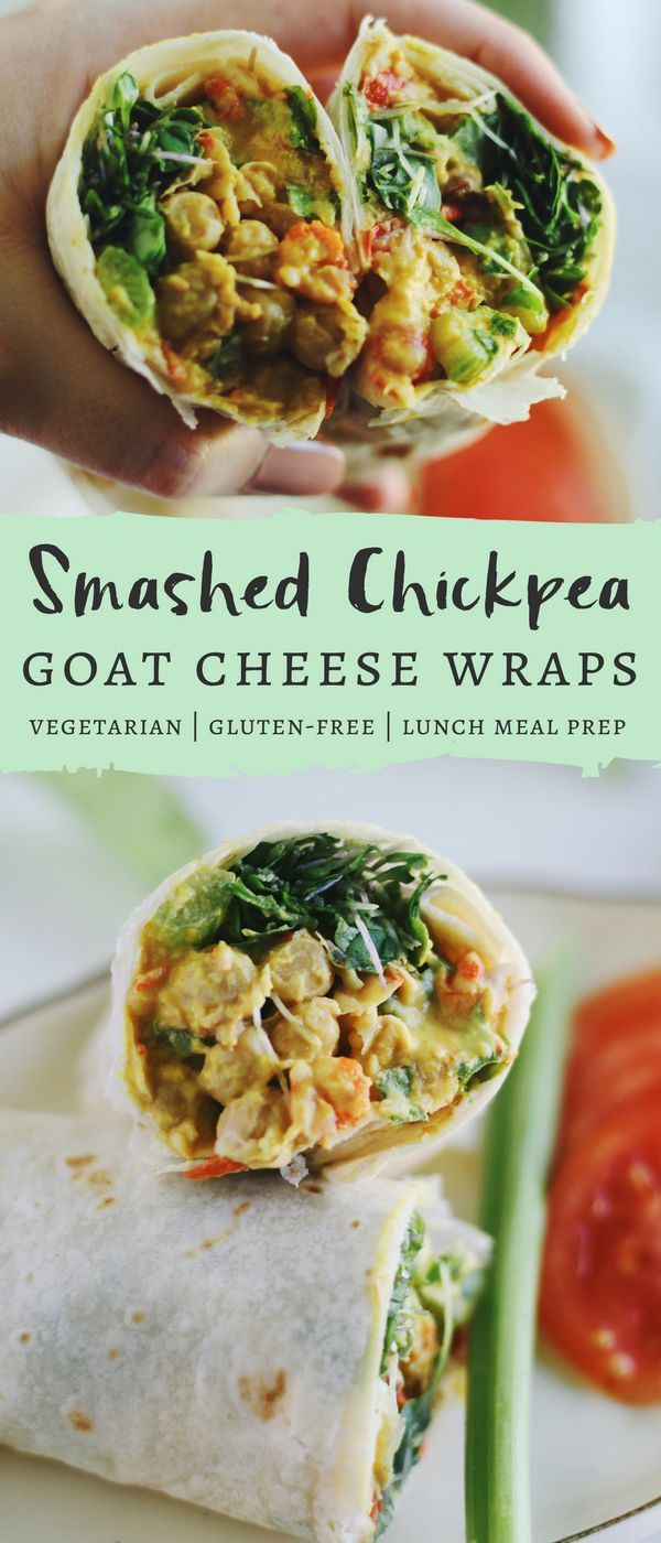 These Smashed Chickpea and Goat Cheese Wraps are the perfect healthy weekday lunch. Great for meal prepping, these wraps are filled with fiber, protein, greens, and a little crunch. #vegetarian #lunch #wraps #chickpeas