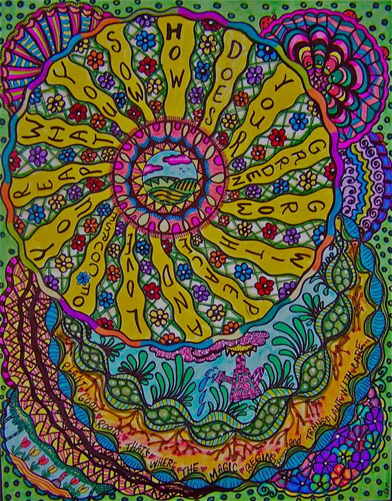 Psychedelic Hippie Art, The Garden Mandala via Etsy