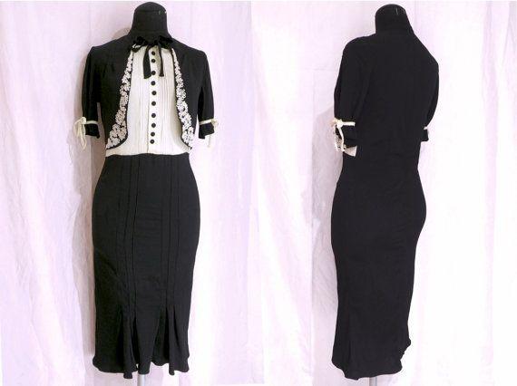Vestido de crepe de seda negro y marfil de los por MeAndTheMajor