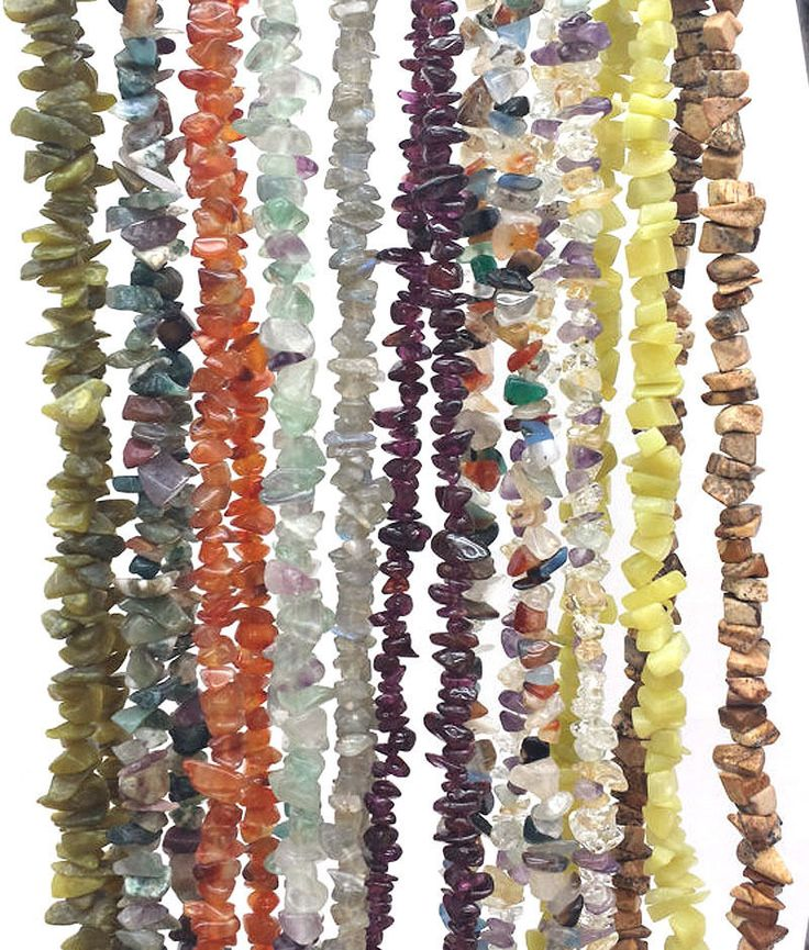 "10 Strands Multi Semi Precious Gemstone Smooth Uneven Chips 36"" Long Strand #Empressbeads"