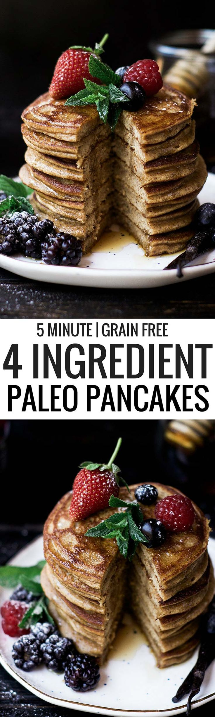 Paleo pancakes made with only four ingredients! An easy to make breakfast make in 5 minutes! Gluten free, Grain free, and Paleo. These soft and flavorful grain free pancakes are so addictingly delicious and easy to make. The rich and tasty flavors from these pancakes are perfect paired with fresh juicy berries and a drizzle of maple syrup.