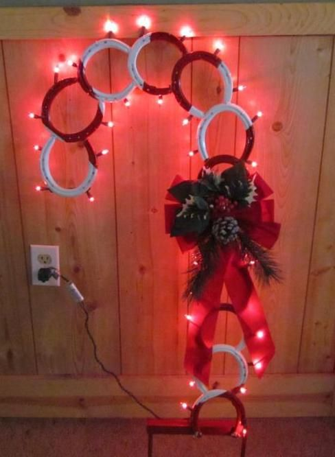 Lighted Horseshoe Candy Cane Yard Ornament. www.facebook.com/nailitcreations