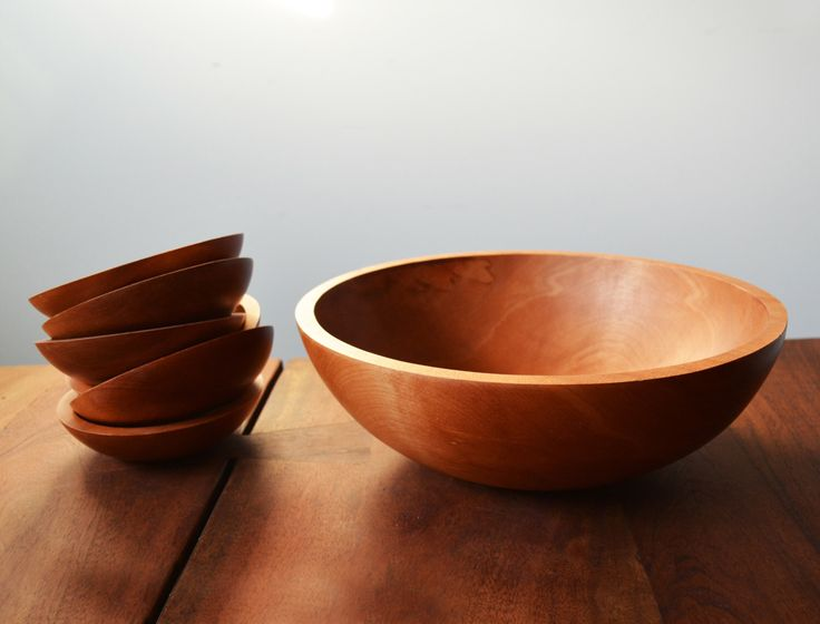 Mid Century Baribocraft large maple stained Salad Bowl set, 7 Pieces - vintage Canadiana 1960s Montreal by Trashtiques on Etsy https://www.etsy.com/ca/listing/483478719/mid-century-baribocraft-large-maple