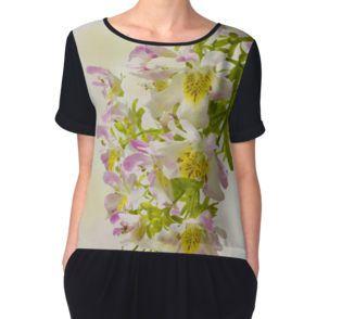 Women's Chiffon Top. Also available in white.   #butterflyflowers   #schizanthus   #schizanthusflowers   #pinkandyellowflowers   #bicolorflowers   #sandrafoster #sandrafosterredbubble