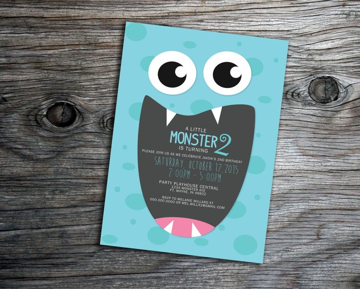 Monster Creatures Birthday Party, Halloween Party, Baby Shower Invitation by xxLVE on Etsy