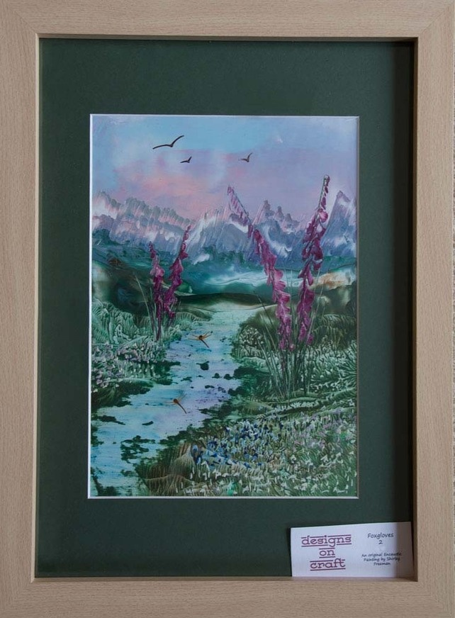 Foxgloves 2 - Original, Framed Encaustic Art Painting £39.00