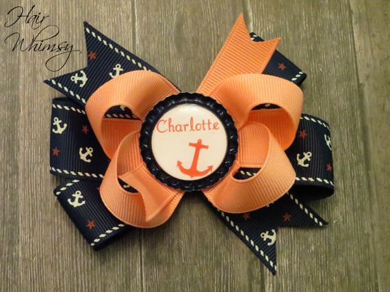 Navy, Coast Guard, Marines, Sailor, or Pirate Hair Bow in Blue and Coral (PERSONALIZED) on Etsy, $6.00